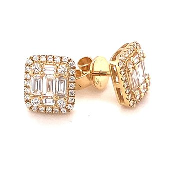 Baguette & Round Diamond Halo Stud Earrings
