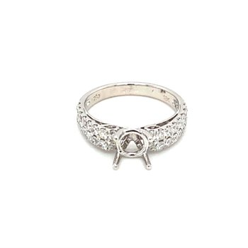 Diamond Double Row Side Stone Engagement Ring