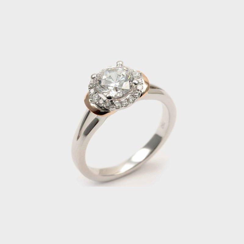 Diadori (Cheri Dori) Two Tone Halo Diamond Engagement Ring