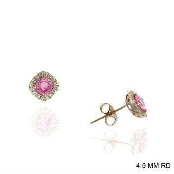 Pink Sapphire Diamond Halo Stud Earrings