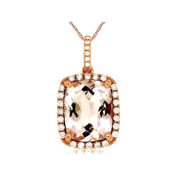 Morganite Diamond Halo Pendant Necklace