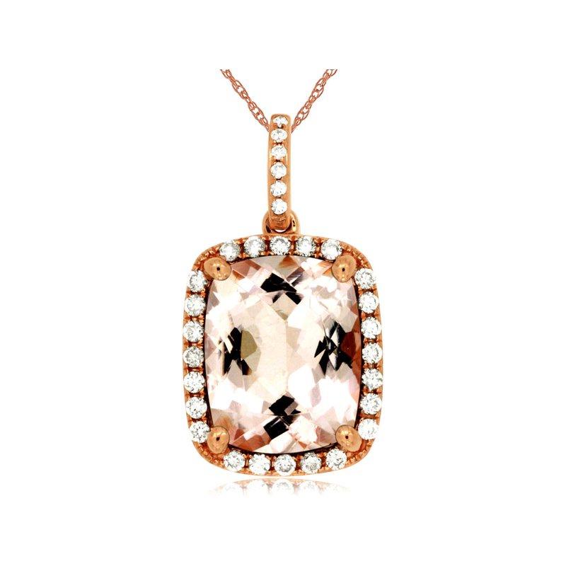 Murphy Pitard Signature Collection Morganite Diamond Halo Pendant Necklace