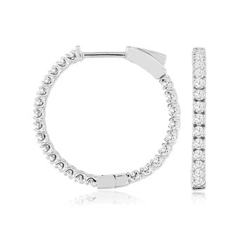 Diamond Medium Inside Out Hoop Earrings