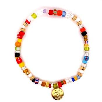Rainbow Beaded Stretch Bracelet
