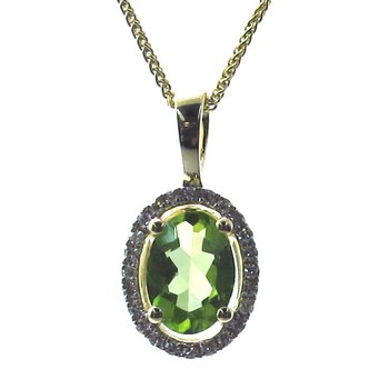 Peridot & Diamond Halo Pendant Necklace