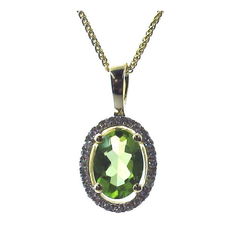 Murphy Pitard Signature Collection Peridot & Diamond Halo Pendant Necklace