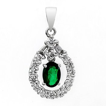 Oval Shaped Emerald and Diamond Pendant