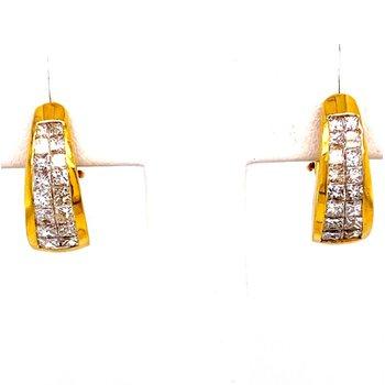 Yellow Gold Princess Cut Diamond Hoop Earrings