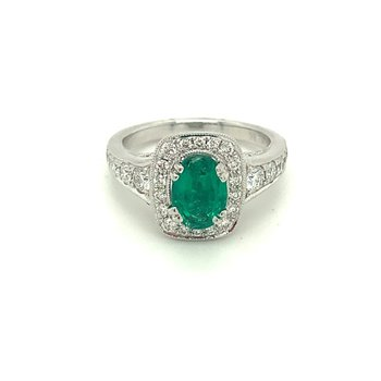 Oval Emerald & Diamond Halo Milgrain Ring