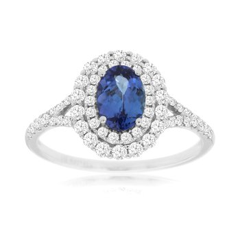 Diamond Tanzanite Halo Ring