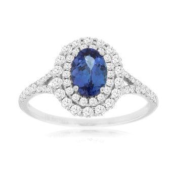 Diamond Tanzanite Halo Ring