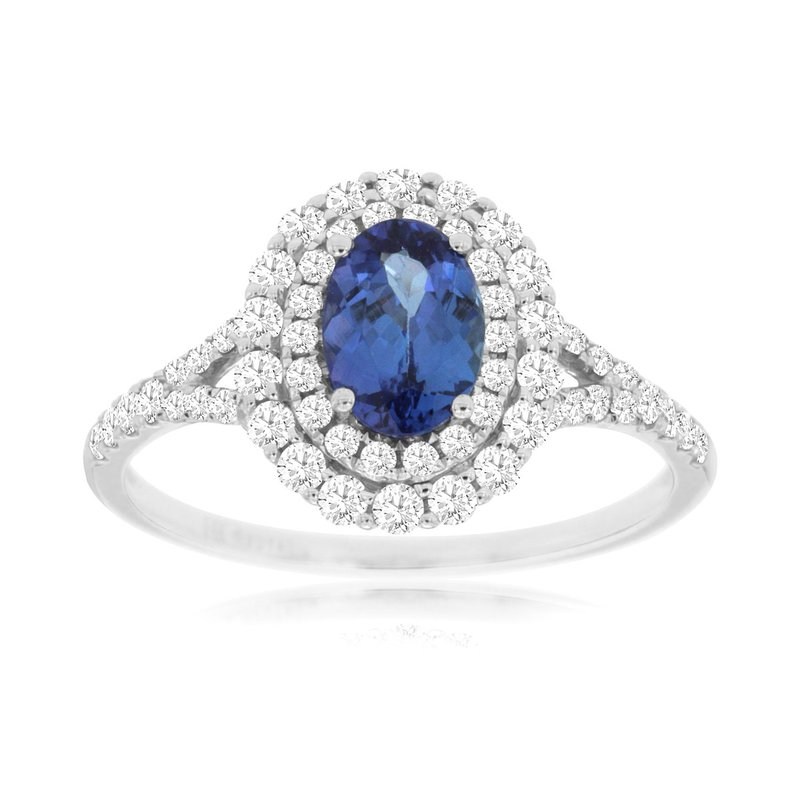 Murphy Pitard Signature Collection Diamond Tanzanite Halo Ring