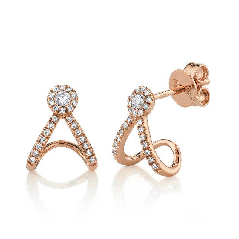 Shy Creation Diamond Halo Fashion Hoop Earrings