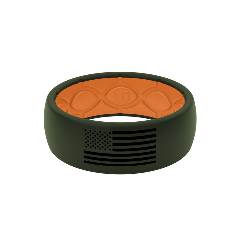 Groove Life Moss Green & Orange Silicone Band  - Size 13