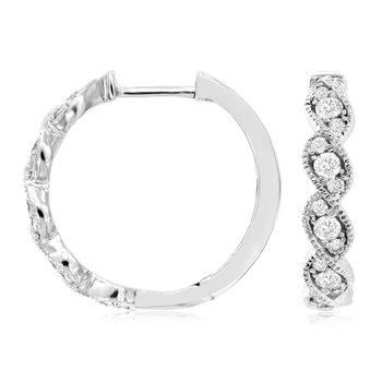 Diamond Small Milgrain Twist Hoop Earrings