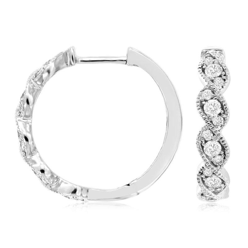 Murphy Pitard Signature Collection Diamond Small Milgrain Twist Hoop Earrings