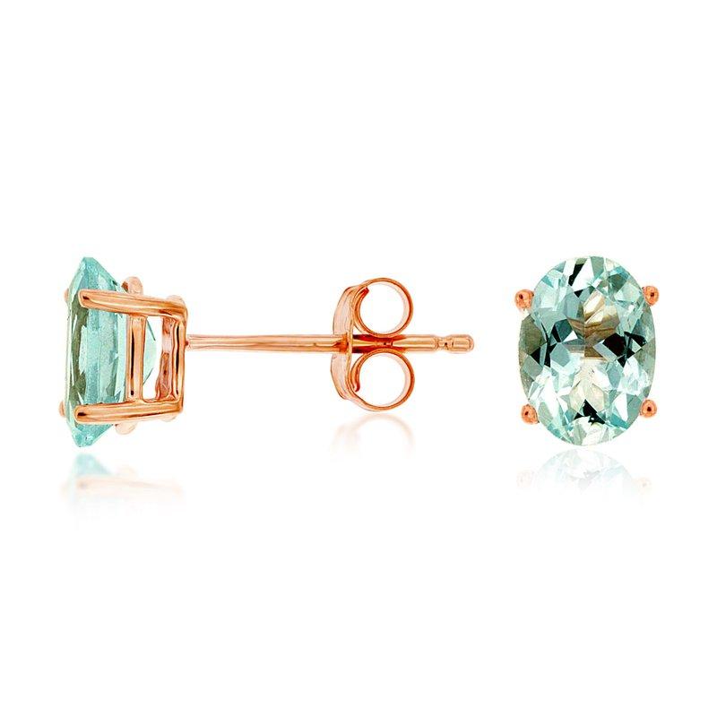Murphy Pitard Signature Collection Oval Aquamarine Stud Earrings