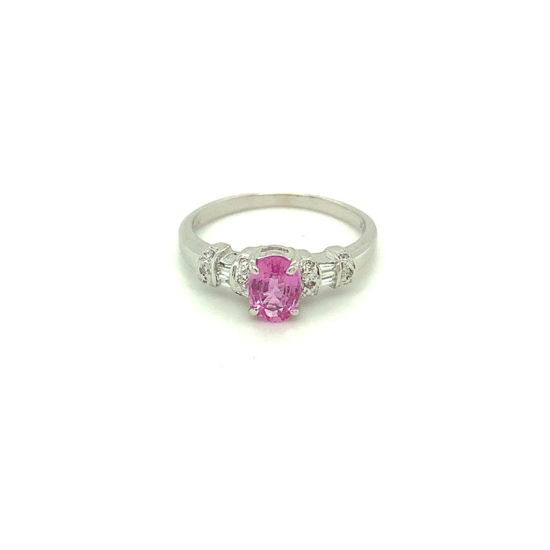 Murphy Pitard Signature Collection Diamond Accented Oval Pink Sapphire Ring