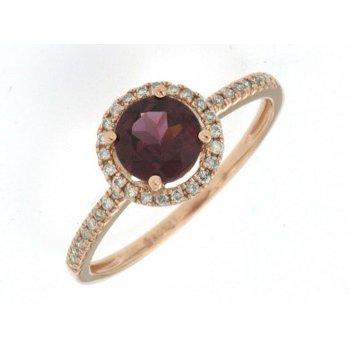 Garnet & Diamond Halo Fashion Ring