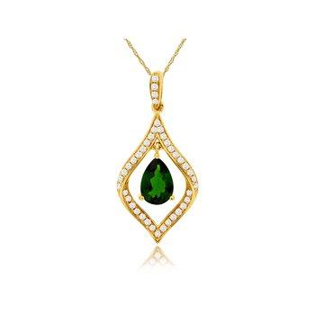 Russalite & Diamond Pendant Necklace