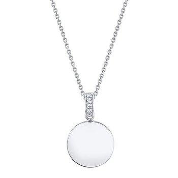 Diamond Polished Disc Pendant Necklace