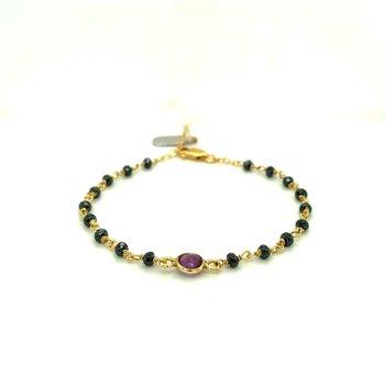 Dayna Hematite and Amethyst Bracelet
