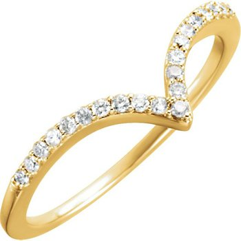 Diamond V Contoured Wedding Band