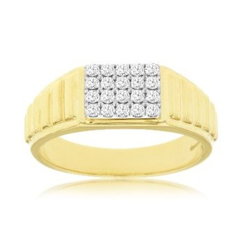 Diamond Rectangle Top Cluster Polished Ring