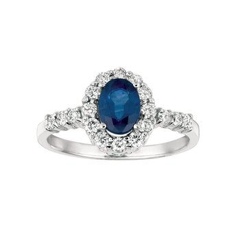 Diamond Halo Blue Sapphire Ring