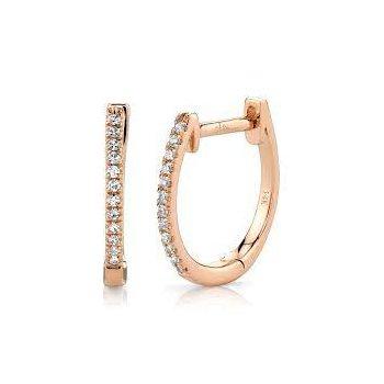 Diamond Huggie 1/2 Inch Hoop Earrings