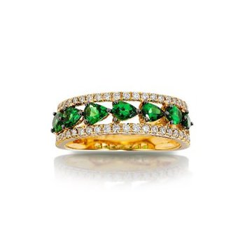 Green Garnet & Diamond Band