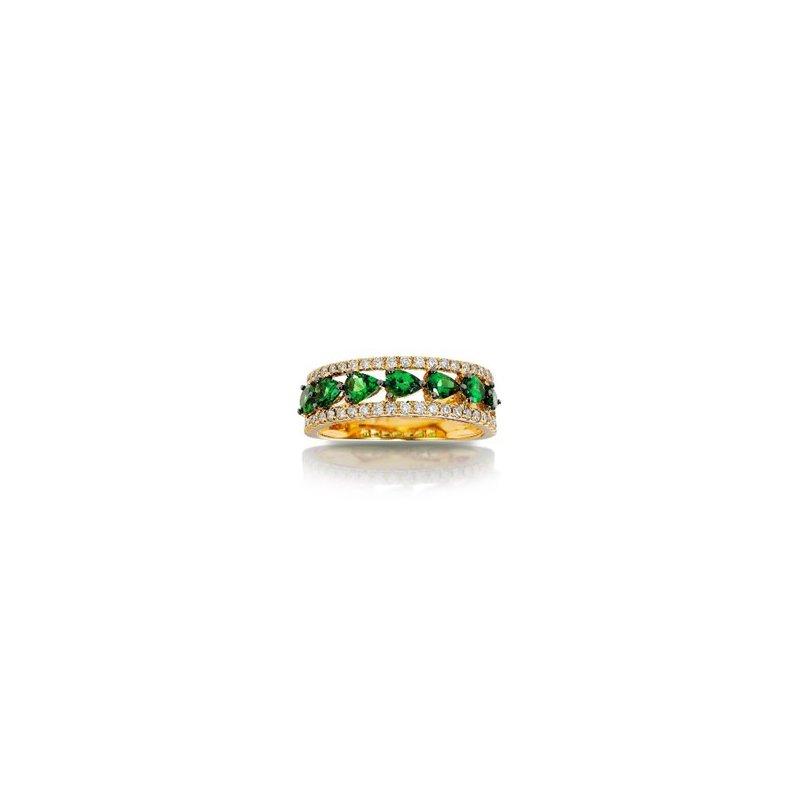 Murphy Pitard Signature Collection Green Garnet & Diamond Band