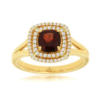 Diamond & Garnet Halo Fashion Ring