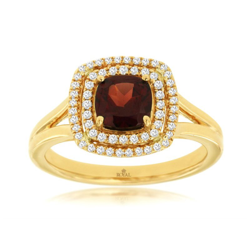 Murphy Pitard Signature Collection Diamond & Garnet Halo Fashion Ring