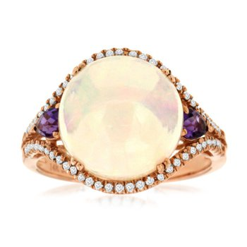 Opal Fashion Right Hand Ring With Amethyst & Diamond Accents