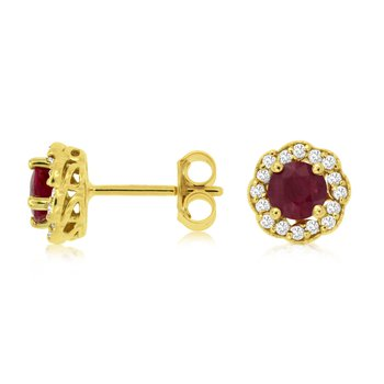 Round Ruby Diamond Halo Stud Earrings
