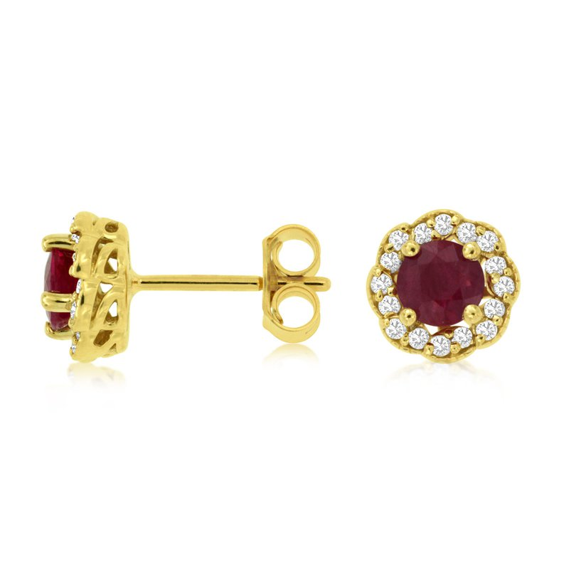 Murphy Pitard Signature Collection Round Ruby Diamond Halo Stud Earrings