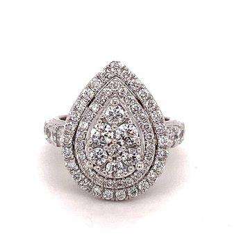 Diamond 2.0 Carat Pear Double Halo Ring