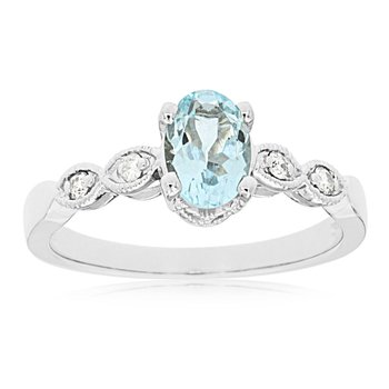 Aquamarine Diamond Accented Ring