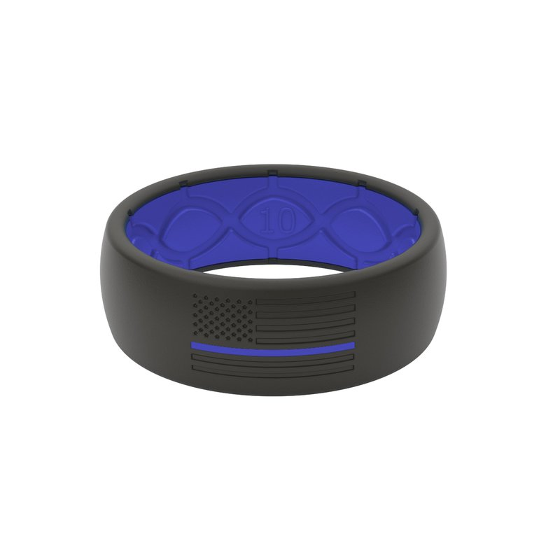 Groove Life Black & Blue Line Silicone Band - Size 10