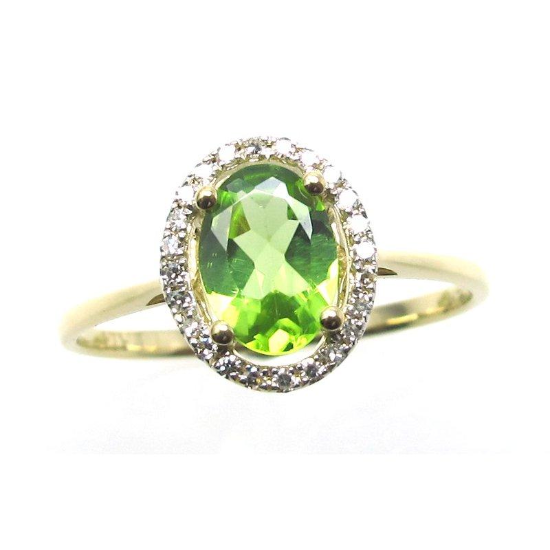 Murphy Pitard Signature Collection Peridot & Diamond Halo Ring