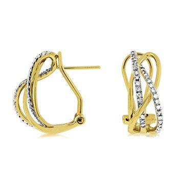 Diamond Medium Twist Fashion Hoop Earrings