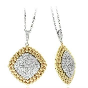 Beaded Diamond Cluster Pendant Necklace