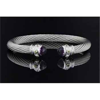 Caerleon Too Series Amethyst & Blue Topaz Cable Bracelet