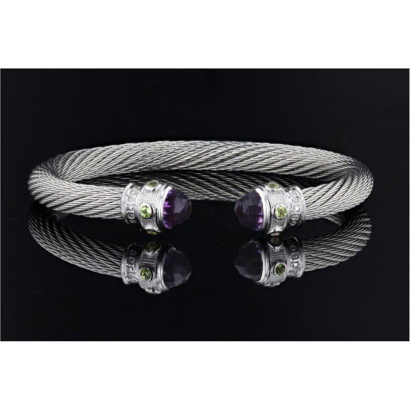 Goldman-Kolber Caerleon Too Series Amethyst & Blue Topaz Cable Bracelet