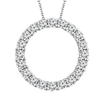 Diamond 1/4 Carats Circle Pendant Necklace