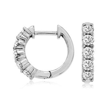 Diamond 1.0 Carats Small Hoop Earrings