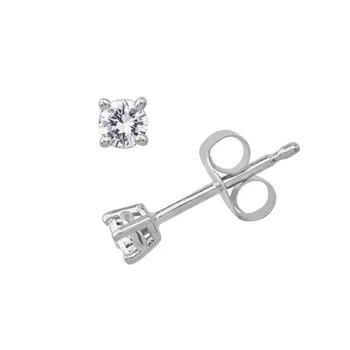 Diamond 1/4 Carats Stud Earrings Traditional Basket Settings