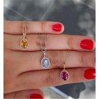 Murphy Pitard Signature Collection Ruby & Diamond Halo Pendant Necklace