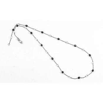 Diamond & Black Diamond Briolette Station Necklace